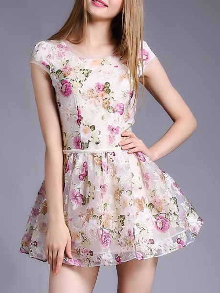 Short Sleeve Crew Neck Girly Floral Mini Dress