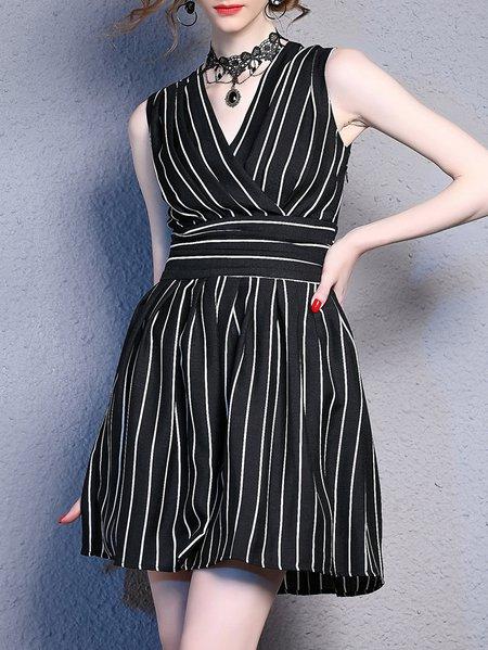 Black A-line Sleeveless Linen V Neck Mini Dress