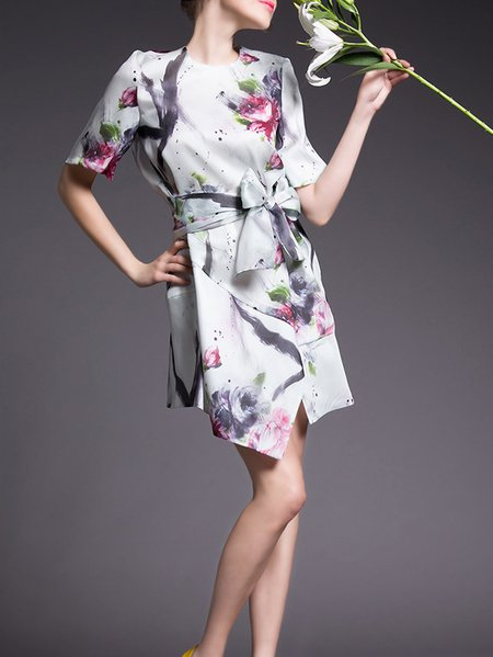 White Elegant Printed/Dyed Crew Neck Mini Dress