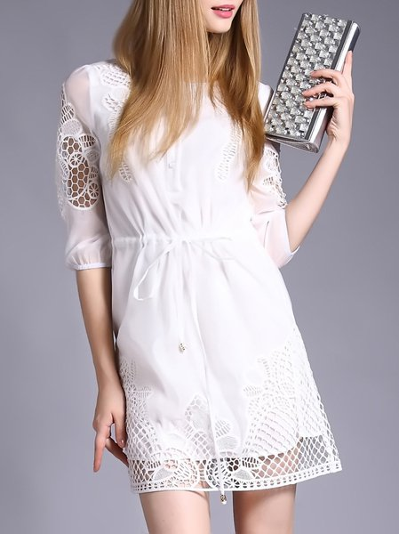 White H-line Half Sleeve Embroidered Mini Dress