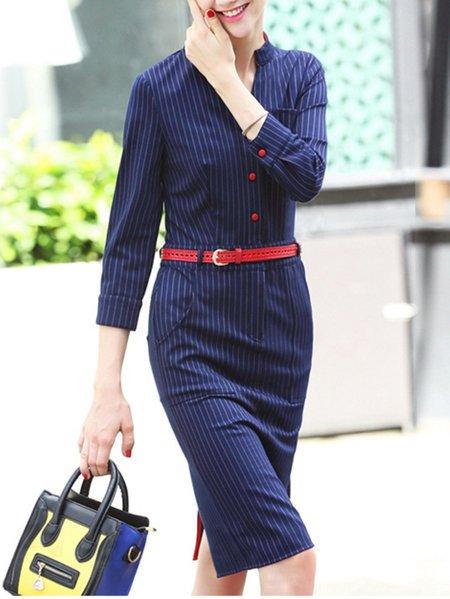 Blue Printed Stripes Sheath 3/4 Sleeve Midi Dress with Belt