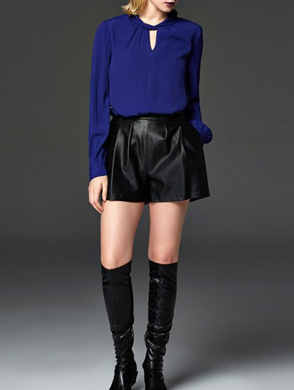 Blue Plain V Neck Balloon Sleeve Blouse