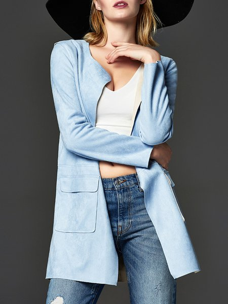 Light Blue Plain Long Sleeve Pockets V Neck Coat