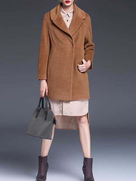Brown Buttoned Long Sleeve Coat