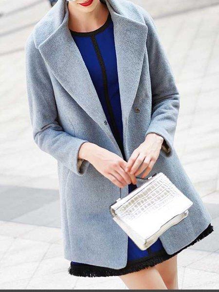 Blue Long Sleeve Plain Buttoned Coat