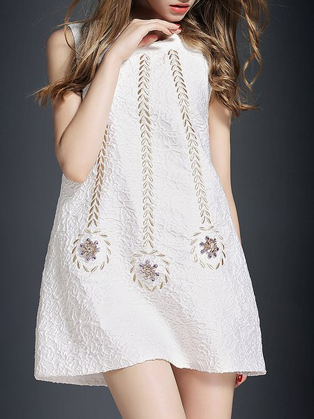 White Polyester Sleeveless Embroidery A-line Mini Dress