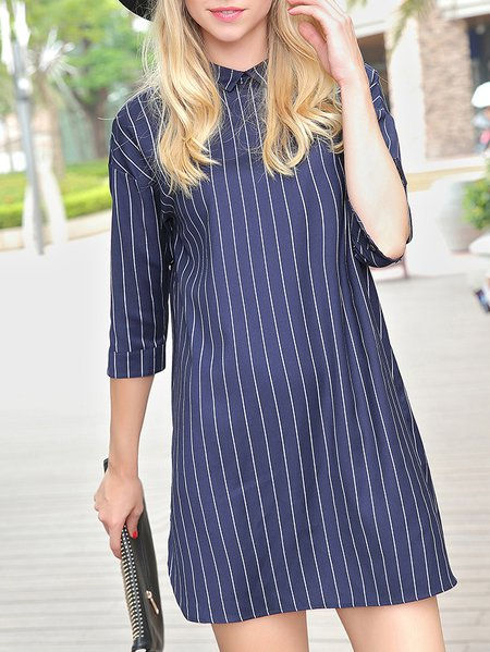 Blue Shift Half Sleeve Buttoned Polyester Shirt Dress
