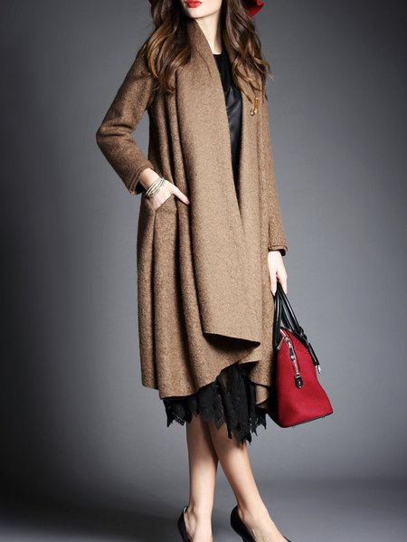 Brown Casual Plain Wool Blend Pockets Coat