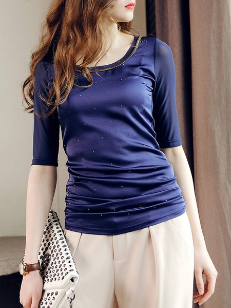 Dark Blue Casual Crew Neck Half Sleeve Top