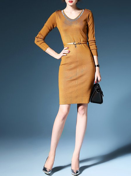 Yellow Slit Long Sleeve Knitted Sweater Dress with Belt