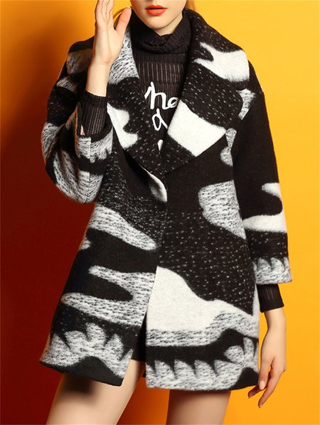 Black H-line Long Sleeve Abstract Wool Blend Coat