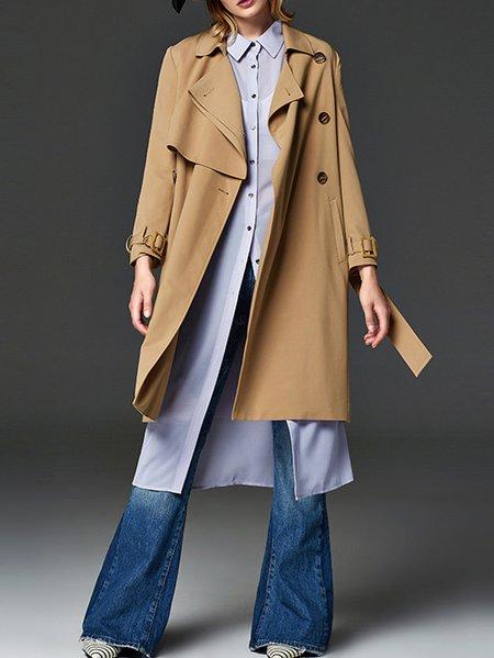 Khaki H-line Long Sleeve Trench Coat
