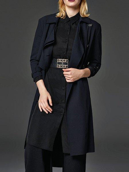 Black Buttoned V Neck Long Sleeve Trench Coat