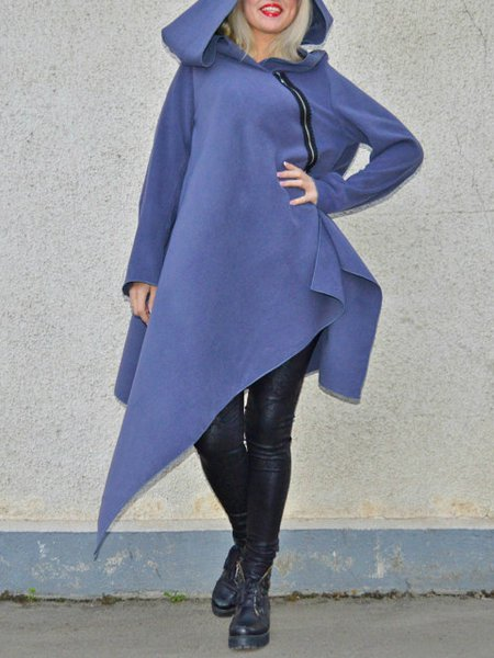Gray Wool Blend Shift Long Sleeve Coat