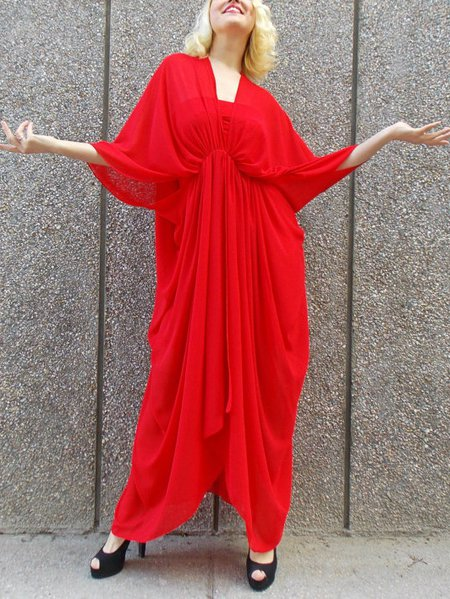 Red Hand Made 3/4 Sleeve Maxi Dress