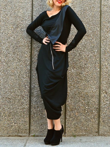 Black Asymmetrical Casual Cotton-blend Maxi Dress