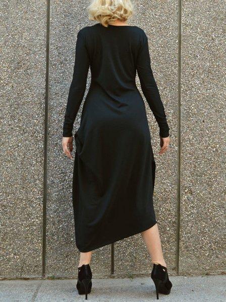 Black Asymmetrical Casual Cotton-blend Maxi Dress - StyleWe.com