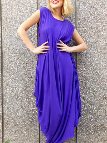 Blue Sleeveless Shift Maxi Dress