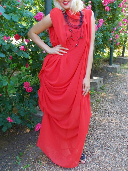 Red Sleeveless Hand Made Polyester Shift Maxi Dress