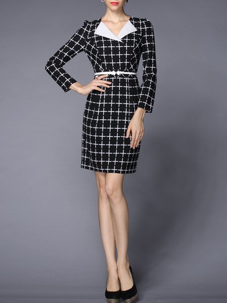Multicolor Sheath Printed Long Sleeve Lapel Midi Dress