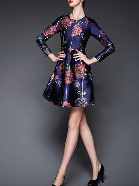 Blue Long Sleeve Printed Floral Polyester Mini Dress