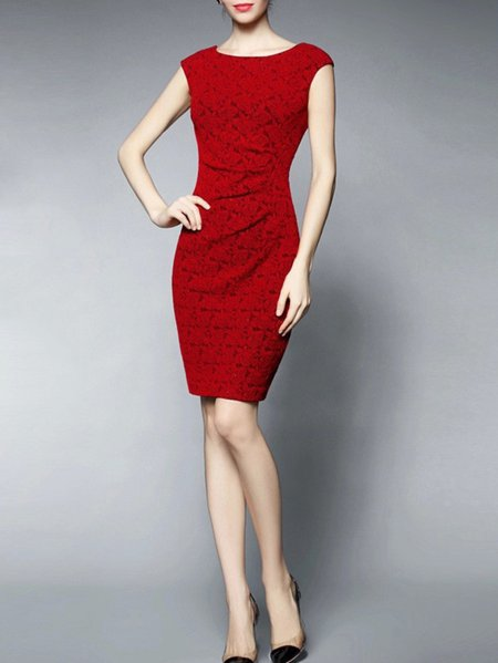 Red Zipper Sheath Sleeveless Mini Dress
