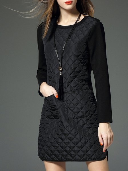 Black Pockets A-line Long Sleeve Mini Dress