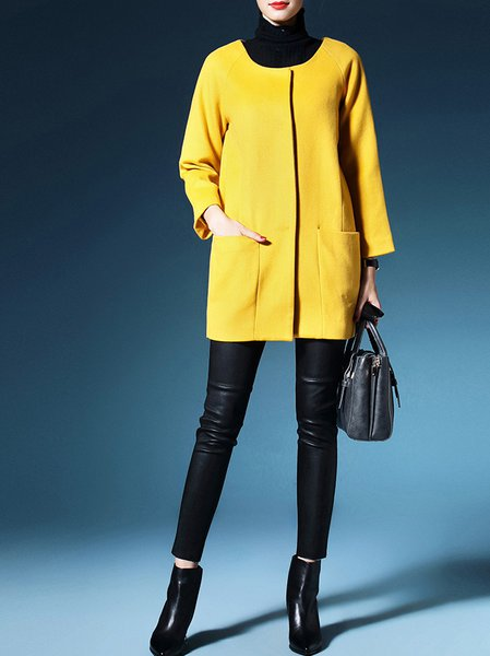 Yellow Long Sleeve Polyester Coat
