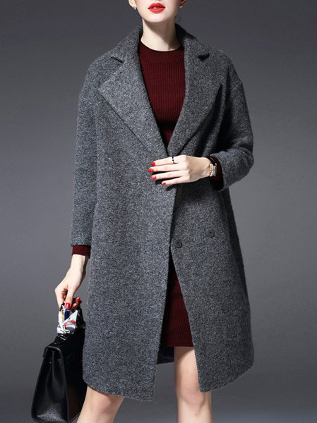 Gray Long Sleeve Buttoned Coat