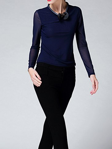 Blue Plain Long Sleeve Paneled Mesh Long Sleeved Top
