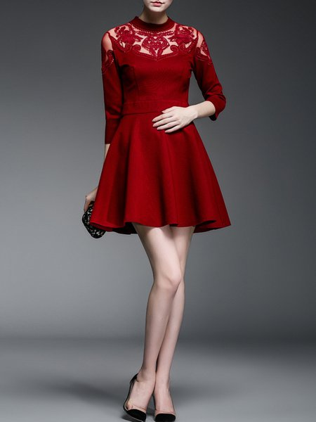Burgundy A-line Cotton-blend Paneled Half Sleeve Mini Dress