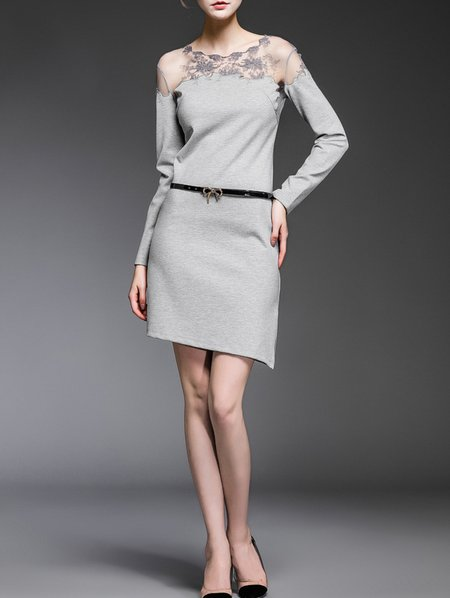 Gray Paneled Cotton-blend Crew Neck Long Sleeve Mini Dress