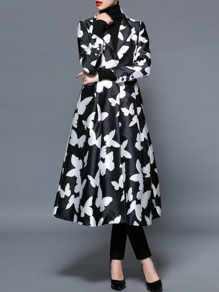 Multicolor Printed/Dyed Animal Print Long Sleeve V Neck Coat