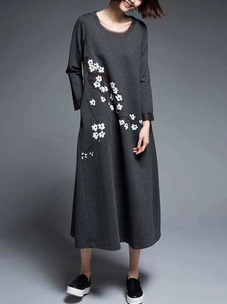 Gray Crew Neck 3/4 Sleeve Floral-print Midi Dress with Pockets