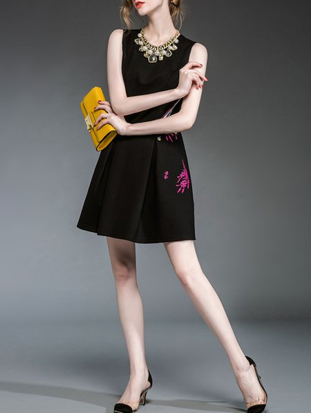 Black Casual Cotton-blend Embroidery Mini Dress