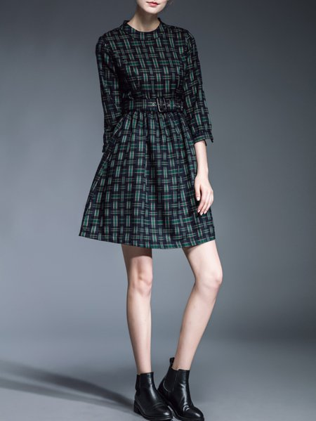 Green A-line 3/4 Sleeve Mini Dress