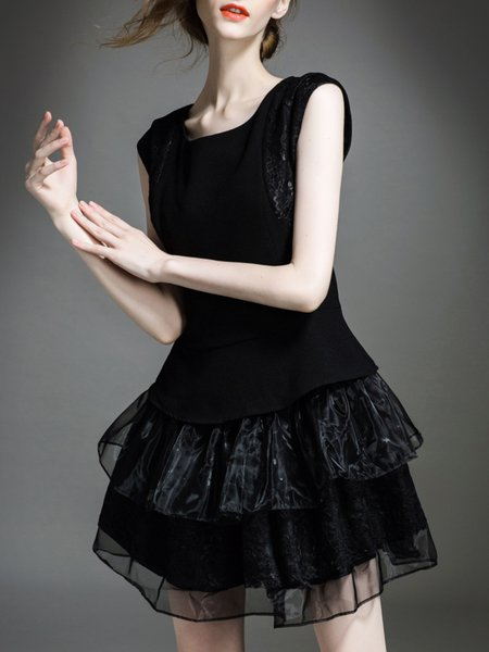 Black Organza Sleeveless Paneled A-line Mini Dress