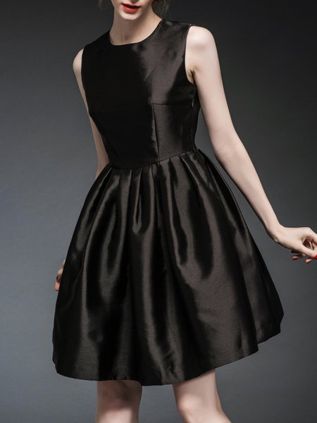 Black Polyester Paneled Sleeveless Mini Dress
