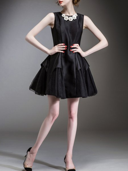 Black A-line Paneled Sleeveless Mini Dress