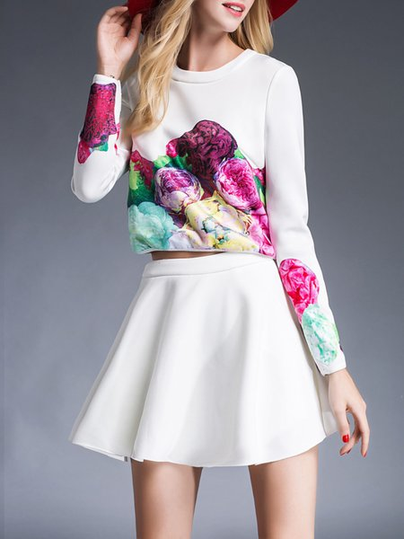 White Floral-print Long Sleeve Two Piece Mini Dress