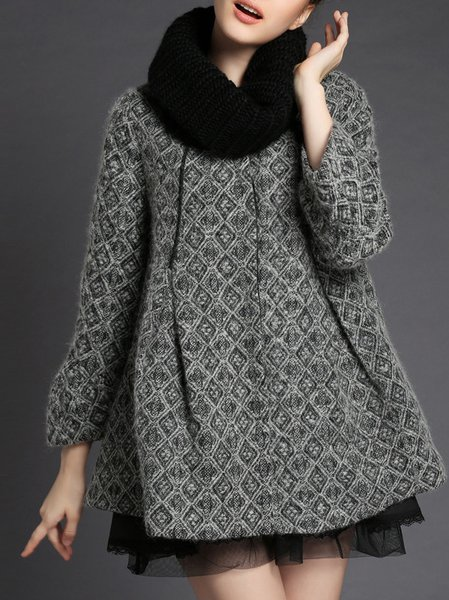 Gray Frill Sleeve A-line Coat