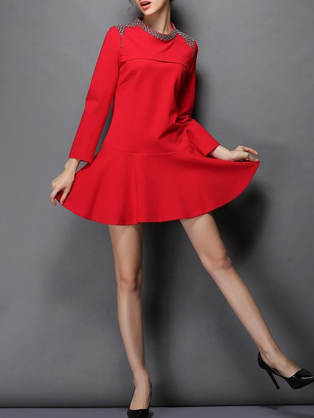 Red Long Sleeve Beaded Cotton-blend Mini Dress