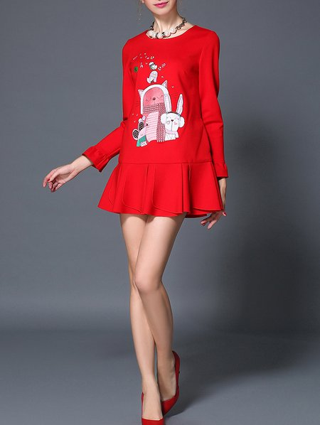 Red Graphic Long Sleeve H-line Mini Dress