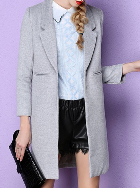 Gray Buttoned Plain Casual Coat