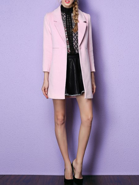 Pink Buttoned Long Sleeve Coat