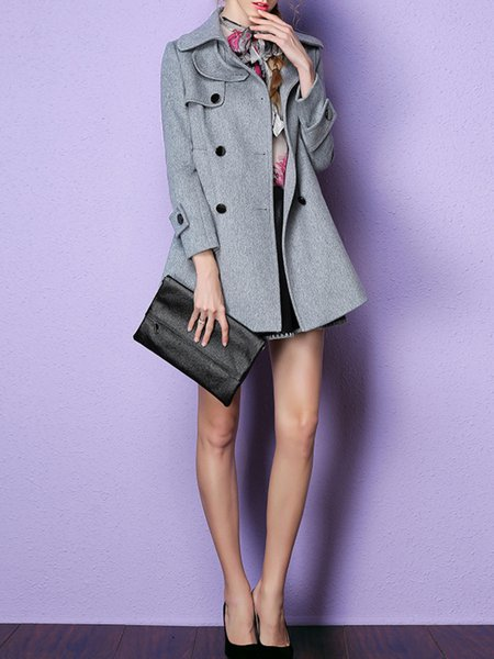 Gray Wool Blend Long Sleeve Buttoned Coat
