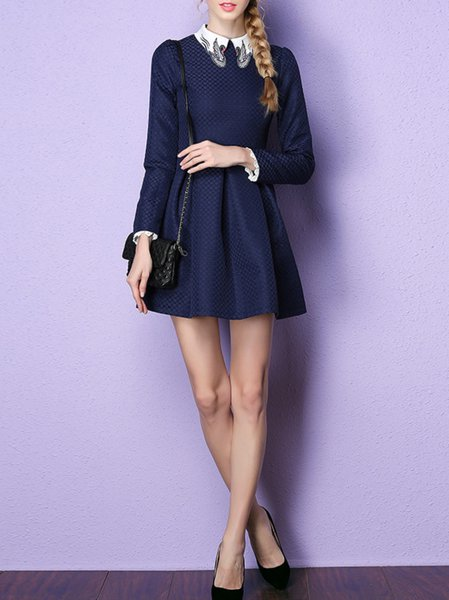 Long Sleeve Checkered/Plaid Jacquard Peter Pan Collar Girly Mini Dress