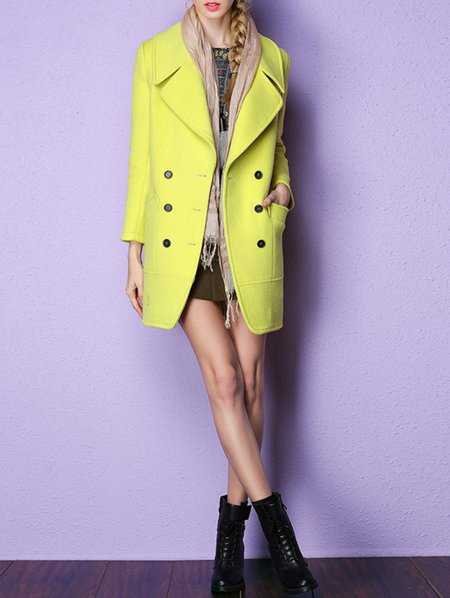 Yellow Polyester Long Sleeve Plain Buttoned Coat