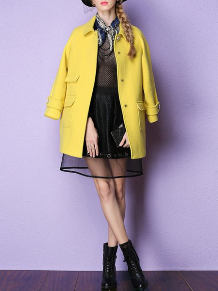 Yellow Long Sleeve Wool Blend V Neck H-line Coat