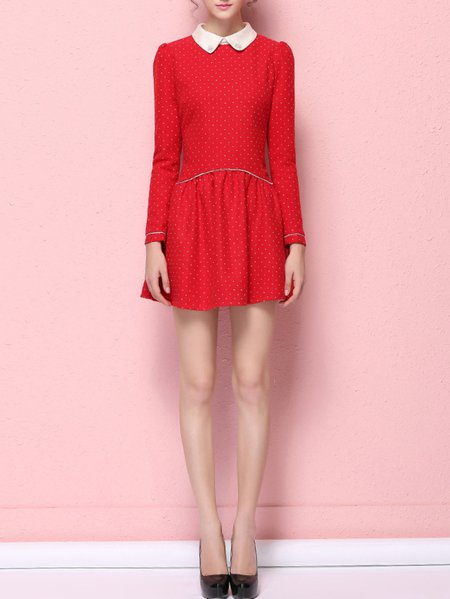 Red Casual Peter Pan Collar Polka Dots Polyester Mini Dress